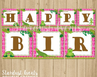 Reptile Happy Birthday Banner, Reptile Birthday Banner, Girl Reptile Birthday Banner