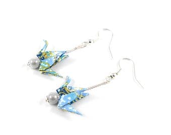 Blue and white cranes earrings Origami Japanese paper
