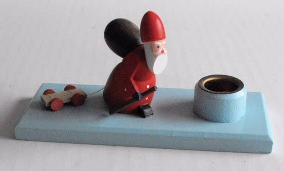 German Wood Hand Crafted Santa Candle Holder Christmas Decoration Cute