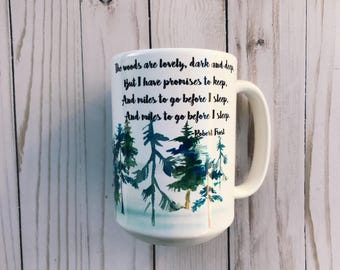 Stopping by Woods on a Snowy Evening - Robert Frost Poem Coffee Mug