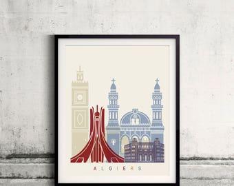 Algiers skyline poster - Fine Art Print Landmarks skyline Poster Gift Illustration Artistic Colorful Landmarks - SKU 2359