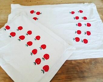 Vintage pillow cases - pillow slips - embroidered cherry/apple design - vintage cherry - kitsch x 2