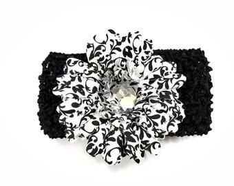 Black White Damask Gem Flower Crochet Headband (fits newborn - adult)