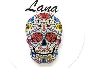 Day of the dead, Bright flowers skull, skull, pin skull, brooch skull, jewelry skull, clay skull, clay pin, present gift
