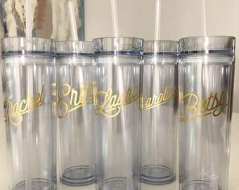 Personalized Skinny Tumbler - Clear, Personalized Cup, Custom Cup, Bridesmaid Gift, Personalized Water Bottle, Teacher Gift