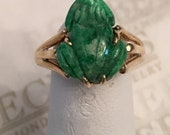 Reserved for tmcnabb169 payment 3 of 3 14k yellow gold Carved Green Jadeite Jade Frog Ring, Triple Split Shank size 5.75