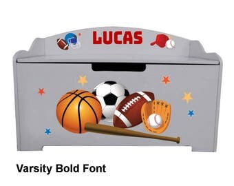 Personalized Dibsies Modern Expressions Sports Toy Box - Gray