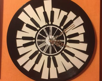 Record vinyl two layered black & color clock / / jazz vinyl music Piano