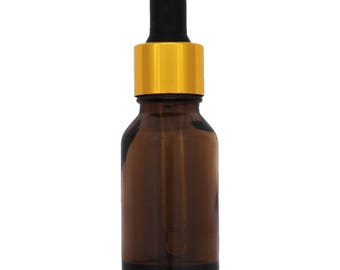 15ml Amber Dropper Bottle with Gold and Black Dropper