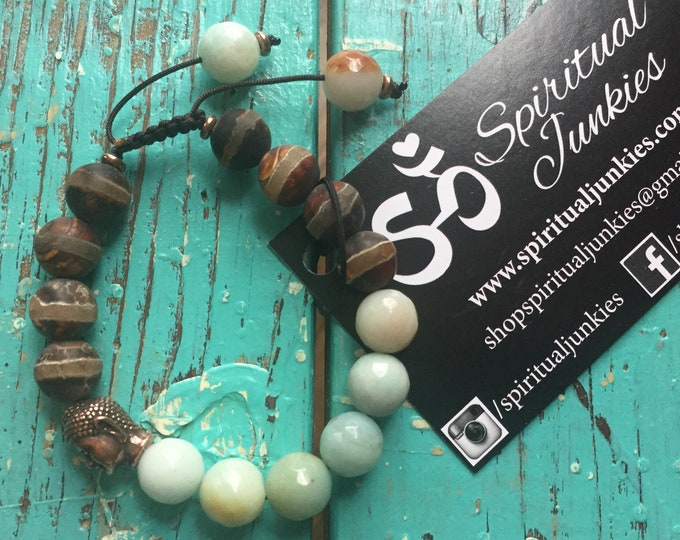 Adjustable Chunky Dzi Agate, Amazonite + Buddha | Yoga + Meditation | Stackable Mala Bracelet