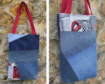Tote bag purse Jeans denim,quilting linen coton, love, glam, kiss - recycled