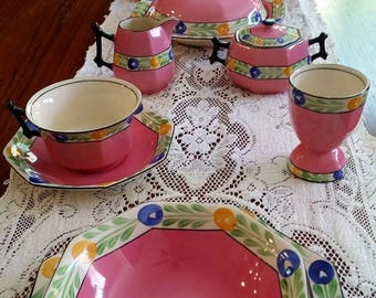 On Sale 60s Regal Pottery Co 23 Pcs Breakfast / Luncheon Set Made in England Hand Painted