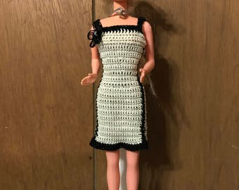 Handmade Crocheted Barbie Dress and Hat with shoes-Cream and Black