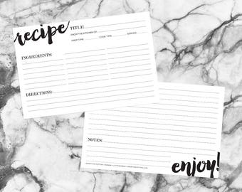 "Recipe Cards • Simple • 6"" x 4"" • Set of 15"