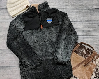 Black Sherpa with Thin Blue Line Police Heart Embroidery-S/M SIZE ONLY