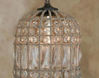 "Small French Beaded Birdcage Chandelier 11"" Antique Reproduction"
