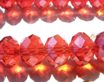 40 beads 12 mm glass crystal has faceted abacus red tomatoes