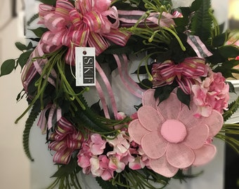 Pretty in pink for Spring wreath.