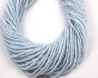 2 Strand Blue Chalcedony  Rondelle 2.5mm Micro Faceted Gemstone Beads 13 inch Long