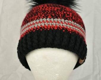 Rustik Crochet Hat with Faux Fur Pompom