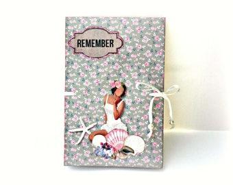 Scrapbooking mini album, Tilda album, Photo mini book, Premade pages album,Summer memories, Seashell album, Ready to ship