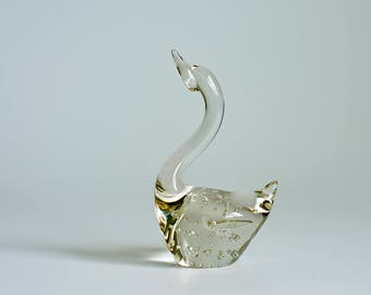 Vintage,Clear, Glass ,Swan ,Paperweight ,Controlled, Bubbles,