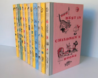 1950's Best in Children's Books, Colorful, set of 12/ Double day, colorful covers & bindings, Hiawatha, Gulliver, Velveteen Rabbit, Stories
