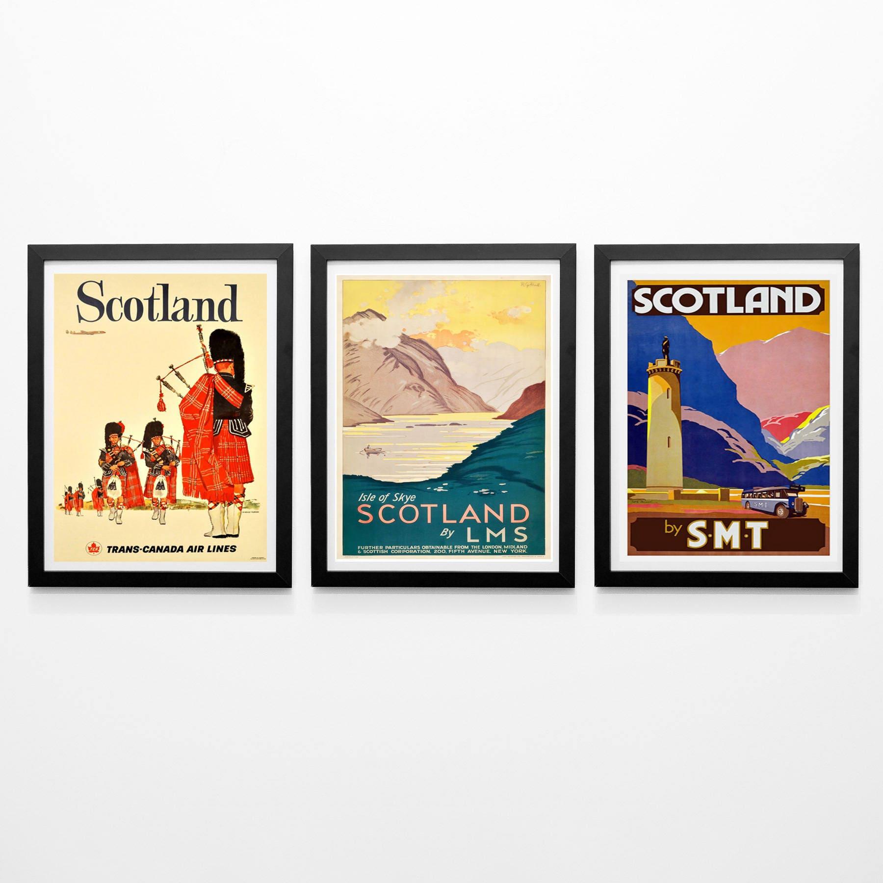 scotland poster set of 3 scottish posters scotch wall art