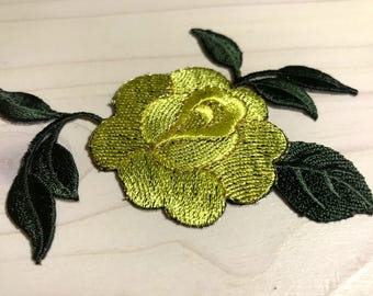 Rose patch Iron on patch Embroidered patch Flower patch Rose applique Large Small patch Patches iron on 3.7 in 9.5 cm