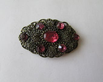 Vintage Pink Rhinestone Pin Art Nouveau Antique Brooch