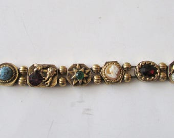 Vintage Double Chain Slide Charm Bracelet Serpent Cameo Lovely Stones Safety Chain Unsigned Goldette