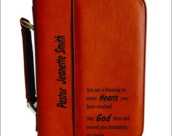 Pastor Appreciation Gift,  Thank you Gift to Pastor, Pastor Gift, Priest's Gift from Church, Engraved Bible Cover, Christian Gift. BCL012
