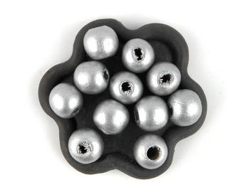x 50 silver wood beads 10mm round