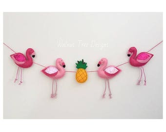 Flamingo Garland, Topical Garland, Felt Flamingo, Felt Flamingo Garland, Felt Garland
