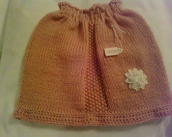 Kids pink knitted skirt