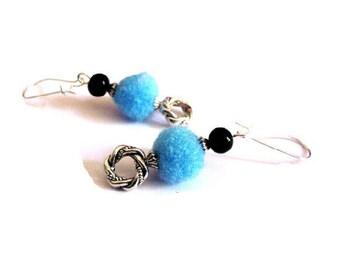Summer earrings, tassels blue carved rings