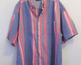 A Men's Vintage 90's,Pastel Striped Short Sleeve Oxford By BLUEPRINT.2XL