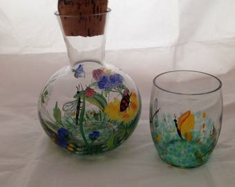 Hand Painted Glass Decanter with Cork Stopper and Glass / Tumbler