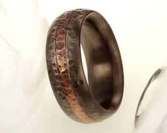 Rustic Men's wedding Band, Men's Wedding Ring, Silver Copper Ring, Wide Men Wedding Band, 8 mm Ring, Comfort Fit Ring , Men's Gift, RS-1233