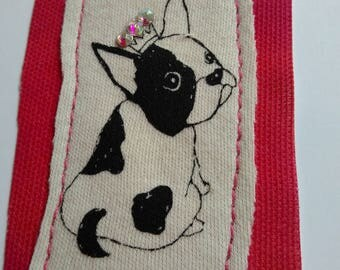 A Crowned Princess - French Bulldog greetings card with Swarvoski crystals