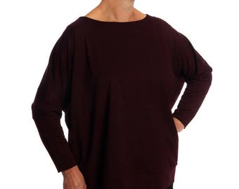 Individual, Batwing, Oversized, Top, Long Sleeves, One Size, Burgundy