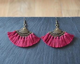loop ' Burgundy tassels, tassel jewelry, fancy tassel jewelry finding