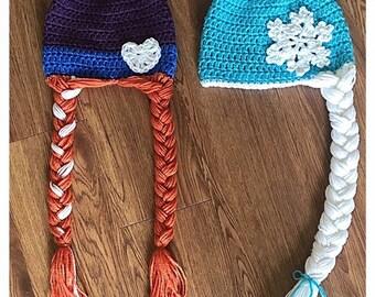 Disney frozen Ana and Elsa hat set.
