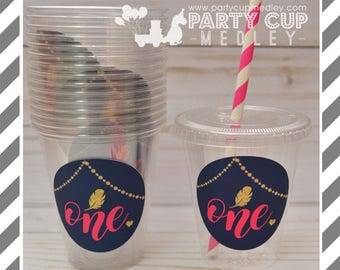 Wild One Birthday Party Cups, Lids & Straws or Favor Cups with Dome Lids