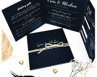 Personalised Folded Chalkboard Wedding Invitation and RSVP set / Rustic / Vintage / UK / Invitation suite