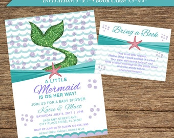 Mermaid Baby ShowerInvitation and Baby Book BAB-11-INV-BB-Digital Download