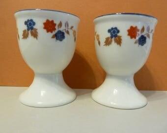 Saki Cups, (Pedestal), Blue Rim