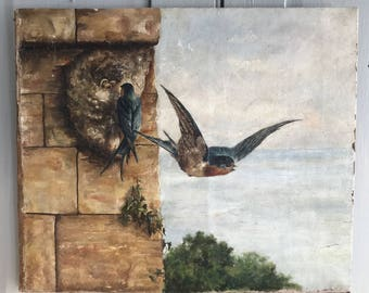 Antique oil painting study of nesting swallows (on board)