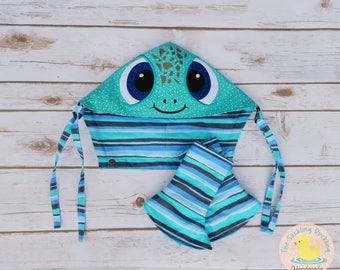 Pre-Order* Embroidered Turtle Character Hoodie Hood Set for Tula Coast Frost, Corner Suck Pads with Double Strand Reach Straps