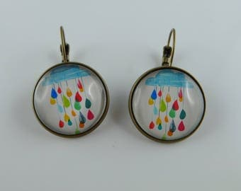 "Stud Earrings ""summer rain"" glass cabochon and bronze"